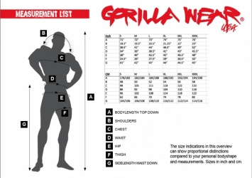 Gorilla Wear - kokotaulukko